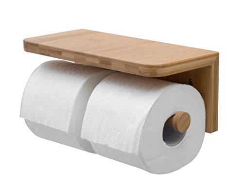 JackCubeDesign Bamboo Dual Toilet Paper Holder Wall Mount Bathroom Double Tissue Rack with Shelf Tray for Bath - MK428C