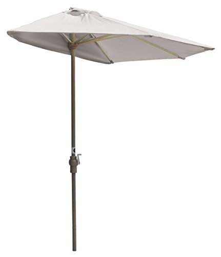 Blue Star Group Off-The-Wall Brella Natural Olefin Half Umbrella, 9'-Width, - Umbrella Olefin Wall Natural