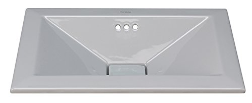 RONBOW Rectangle Self-Rimming Ceramic Vessel Bathroom Vanity Sink in Cool Gray (Ronbow Counter)