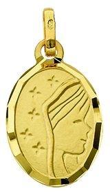 Diamantly - Médaille or Vierge Satine 5 Etoiles Diamant - Largeur: 1,2 Cm - Unisex - Enfant -Bebe-Adulte