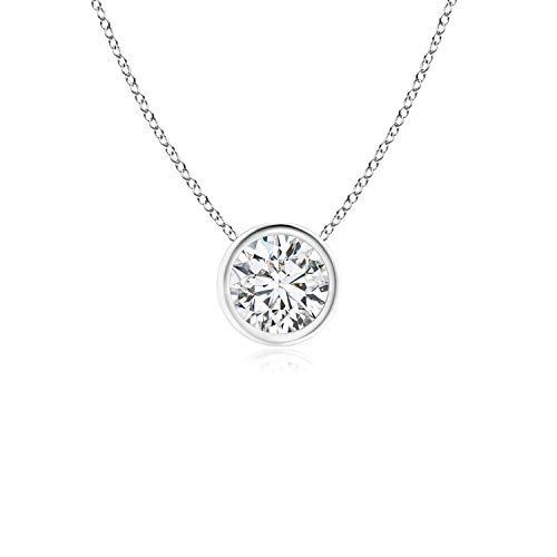 (Bezel-Set Round Diamond Solitaire Pendant in 14K White Gold (5.1mm Diamond))