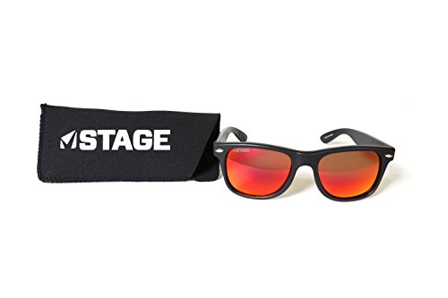 - STAGE Rebel Polarized Floating Sunglasses Red Lens, Black