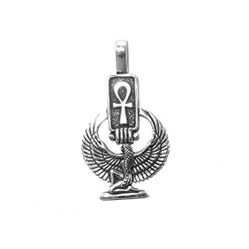 925 Sterling Silver Egyptian Goddess With Hieroglyph Ankh Cross Pendant Charm