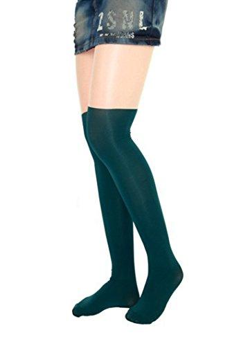 TZSJGL Women Fashion Black Buuny Eiffel Tower Cat Tail Patchwork Tattoo Tights Pantyhose (Green Black & fleshcolor) (My Devil Gf)