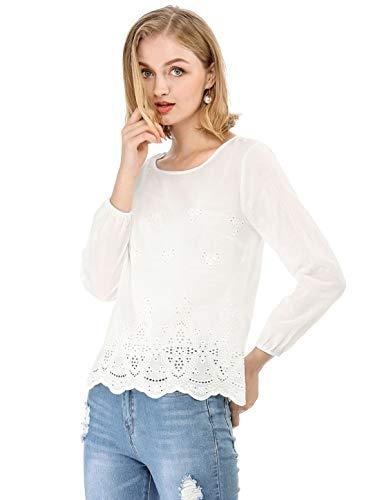 Allegra K Women's Long Sleeves Scalloped Hem Crochet Embroidery Blouse White L (US 14)