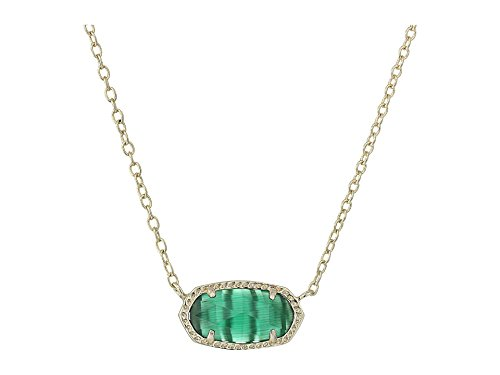 Kendra Scott Women's Elisa Birthstone Necklace May/Gold/Emerald Cat'S Eye Necklace