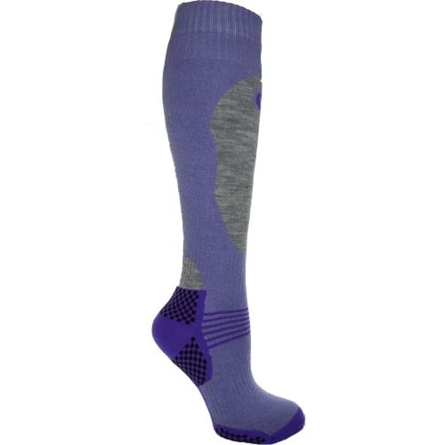 1 Pair – HIGH PERFORMANCE ladies ski socks – long hose thermal socks – Size UK 4-7 (EUR 35-41) (Lilac)