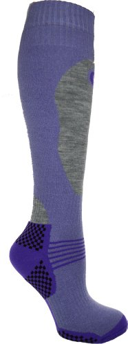 31Q0K6DxHqL - 1 Pair - HIGH PERFORMANCE ladies ski socks - long hose thermal socks - Size UK 4-7 (EUR 35-41) (Lilac)
