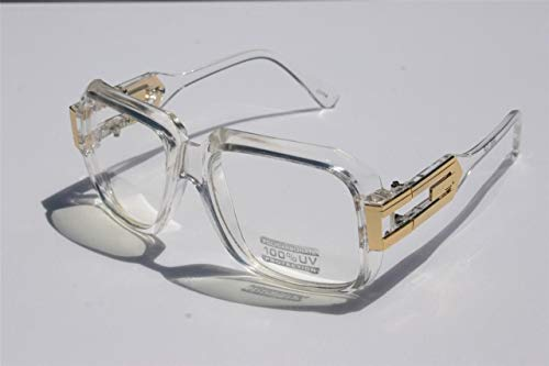Square Gazelle Style SunGlasses Gold Metal Accents DMC - Multi Selection Clear Frame / Clear Lens (Cazal Shop)