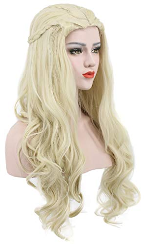 (Karlery Women's Long Curly Gold Braided Wig Halloween Cosplay Wig Anime Costume Party)