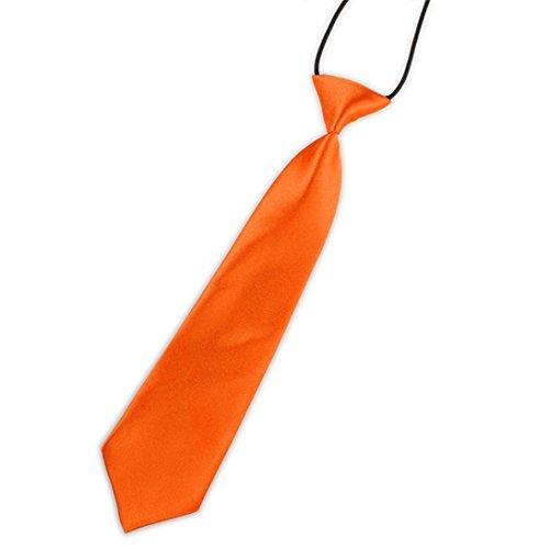 Lookatool New School Boys Kids Children Baby Wedding Solid Colour Tie Necktie (Orange ()