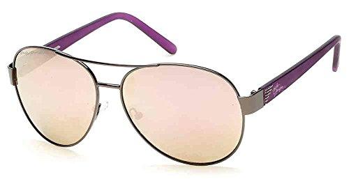 n's Crystal Aviator Sunglasses, Gun Metal Frames & Pink Lens (Harley Davidson Prescription Sunglasses)