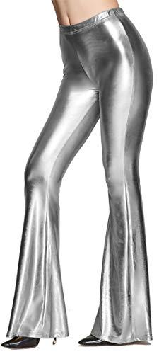Instyle Basse Lotus À Pantalons Les Look Taille Pantalon Brillant Femmes Métallique Silver Pour TlF1KJc