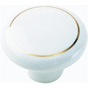 ch Porcelain Knob, White with Ring by Laurey (Laurey Porcelain Knobs)