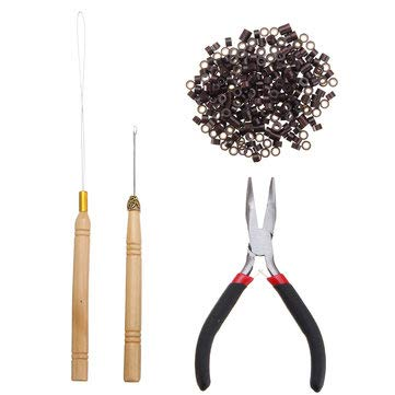 Hair Extension Pliers Hook Tool For Rings Loop With 500Pcs Silicone Beads - Manual Tools Pliers - (Dark Brown)