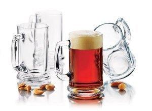 traditional elegant glass beer mugs set of 6 - Glass Beer Mugs