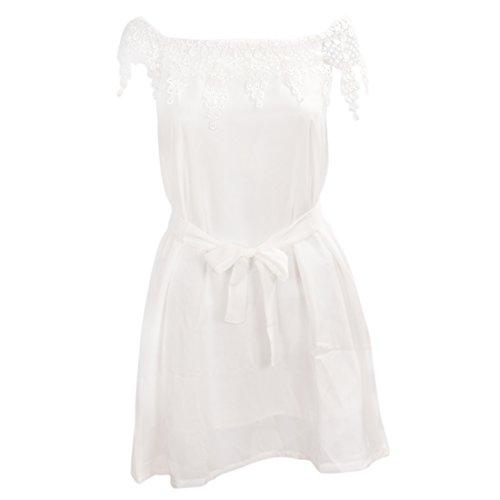 TOOGOO (R)Vestido de noche de fiesta plisado de gasa de encaje de mujer Faldas Blanco S