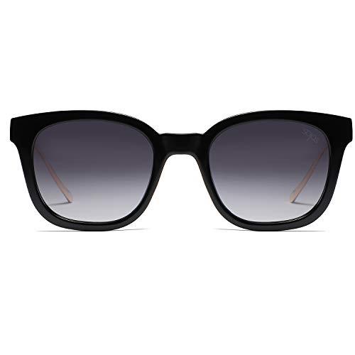 Gafas Unisex C2 SOJOS Negro Sol SJ2050 Polarizado Marco Lente Gris Mujer Retro Hombre Polarizado De Cuadrado Clásico tfwtdp