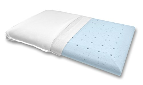 Bluewave Bedding Ultra Slim Gel Memory Foam Pillow for Stomach and Back Sleepers - Thin and Flat Therapeutic Design for Spinal Alignment, Better Breathing and Enhanced Sleeping (Full Pillow Shape)