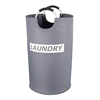 """Lifewit Large Laundry Hamper Collapsible Clothes Basket Durable Oxford Fabric Portable Folding Washing Bin for Bedroom, Laundry Room, Closet, Bathroom, College, 14.9"""" D × 25.2"""" H, Grey"""
