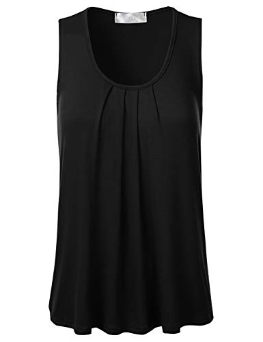 (FLORIA Womens Round Neck Pleated Front Sleeveless Stretchy Blouse Tank Top Black 2XL)