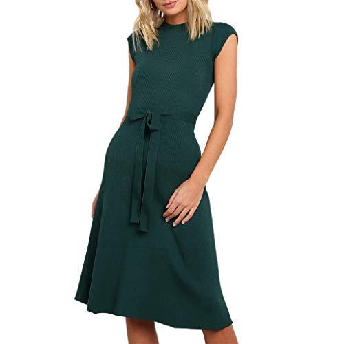 〓COOlCCI〓Women's Summer Casual Tshirt Dresses Short Sleeve Empire Waist Swing Dress Knee Length Midi Dress with Belt Green