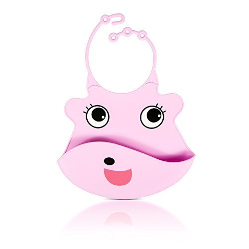 Price comparison product image Flirty Aprons Baby Silicone Bib with Food Pocket,  Pink Pig
