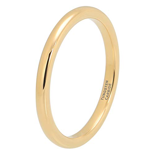 (iTungsten 2mm Yellow Gold Tungsten Rings for Men Women Wedding Bands Domed Polished Shiny Comfort Fit)