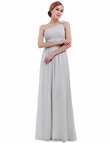 Femme 46 Manche Soire de 36 Femme Elegante iEFiEL Robe Pour Mariage Cocktail Longue Sans Fleur Gris Robe Maxi x1waa6qp