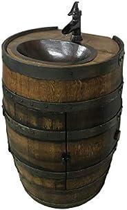 Whiskey barrel vanity with walnut finish