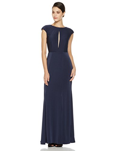 Social Graces Women's Low-Back Front Keyhole Cap-Sleeve Evening Gown