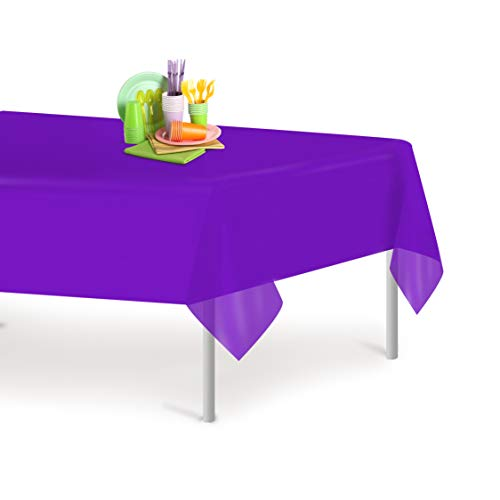 (Purple 6 Pack Premium Disposable Plastic Tablecloth 54 Inch. x 108 Inch. Rectangle Table Cover By Grandipity)