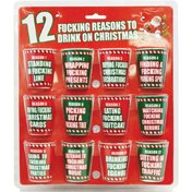 12 Fucking Reasons to Drink on Christmas 12pc Shot Glass Set Christmas Party Glasses