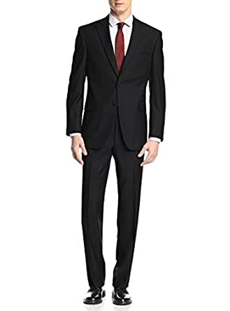 "Presidential Giorgio Napoli Two Button Mens Suit Modern Classic Fit (36 Short US / 46S EU / W 30"", Black)"