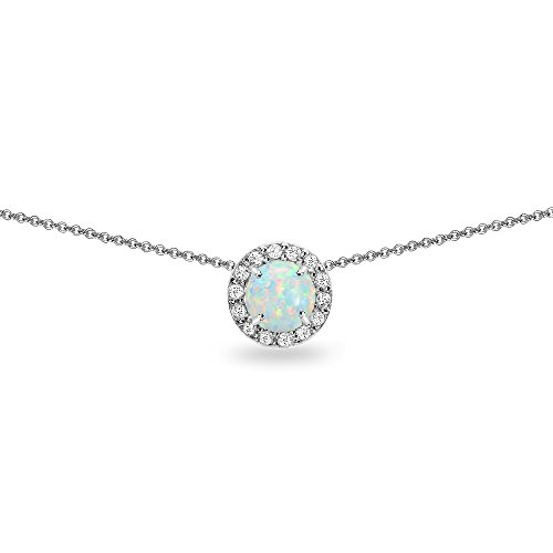 (Sterling Silver Simulated Opal and White Topaz Round Halo Slide Choker Necklace)