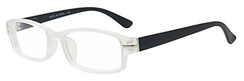 Classic Rectangular Negative Strength Prescription Eyewear Glasses Power -1.00 thru -2.25 (Frost White | Black, - White Prescription Frame Glasses