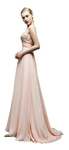 Jessie Q Women's Sweetheart Beading Neckline Strapless Evening Dress Train Gown (Neckline Beadings Sweetheart)