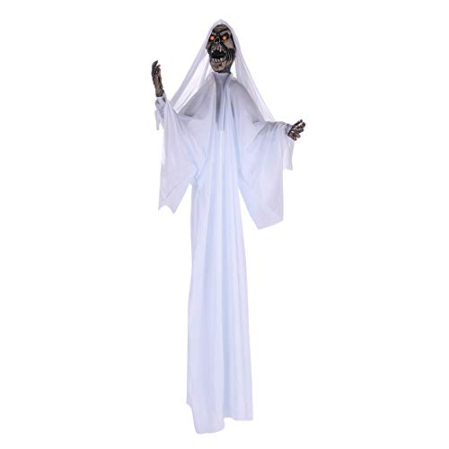 (Halloween Decorations Outdoor Scary Hanging Ghost Skull Skeleton Red Eyes Decorative Lights Voice Controlled Jerky Movement Novelty Front Door yard Decor Party Bar Props Black White 39inches)