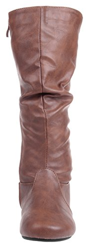 Slouchy Flat Winter Casual Brown High Fashion Dress Womens Leather Mid Enimay Calf Boot SqF40wY