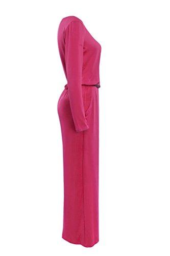 Lunga Tinta E Abito Unita Pink Moda Eleganti Vestitini Manica Autunnali Donna Rotondo Invernali Vestito Cerimonia Vintage Collo Da Cocktail Lunghi Casual Camicia Vestiti Semplice q0at8BW