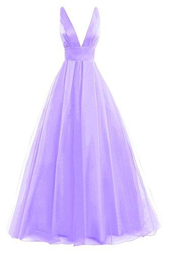 Ausschnitt Festkleid Tüll A Linie Lila JAEDEN Damen Brautjungfernkleid Lang V Ballkleider Abendkleid 01BqxHaFz