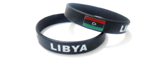 Multicolor Country Flag Unisex Silicone Bracelet Rubber Sport Fashion Wristband Cuff Size 8 Inches 20.2 Cm (Libya)