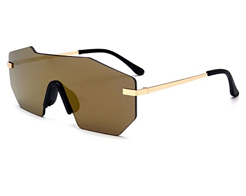 GAMT Mirrored Rimless Oversized Sunglasses for Men and Women Metal Frame Sunglass Gold (So Metal Free Rimless Sunglasses)
