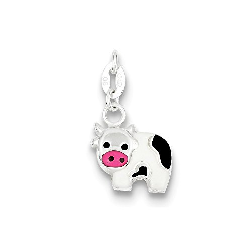 Sterling Silver Enameled Cow Charm (17 x (Enameled Cow Charm)
