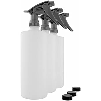 Industrial Grade Chemical Resistant 32-Ounce Plastic Spray Bottles (3-Pack); Heavy Duty Commercial Grade Adjustable Spray Rate Trigger Sprayers w/ Chemical-Resistant Sprayer Heads + Lids Too