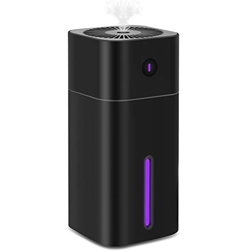 Mini Cool Mist Humidifier Portable - Personal 180ML and 7 Colors LED Night Light with USB - Whisper Quiet Operation Automatic Shut-Off with Adjustable Mist Mode for Home/Office/Bedroom/Baby Room-Black