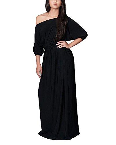 Vestido Para Mujer Largo Sin Hombro De Fiesta Cóctel Tallas Grandes Elegante Negro
