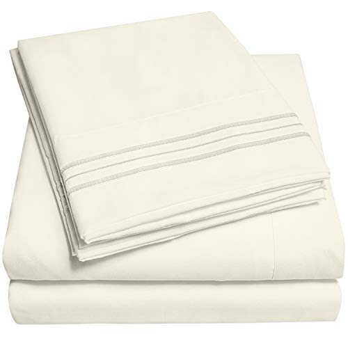 1500 Supreme Collection Extra Soft Twin XL Sheets Set, Ivory - Luxury Bed Sheets Set with Deep Pocket Wrinkle Free Hypoallergenic Bedding, Over 40 Colors, Twin XL Size, Ivory
