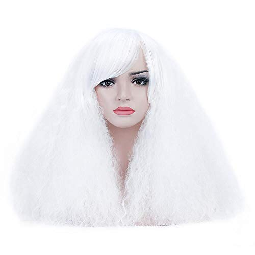 (DAOTS Short White Fluffy Wigs With Bangs for Women Curly Puffy Cosplay Costume Hair Wig for Girls Heat Resistant Halloween)