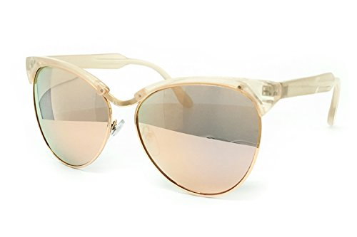 O2 Eyewear 641 Premium Oversize XL Mirrored Cats eye Revo Fashion Sunglasses (CATS EYE, ROSE - Case Bans Do Come With Ray A
